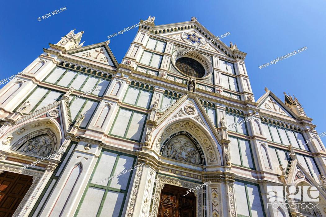 Stock Photo: Florence, Florence Province, Tuscany, Italy. Santa Croce church. The historic centre of Florence is a UNESCO World Heritage Site.