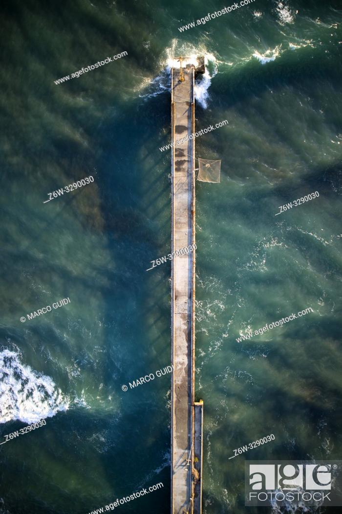 Stock Photo: View from above of the small pier of Cinquale in Massa Carrara Italy.