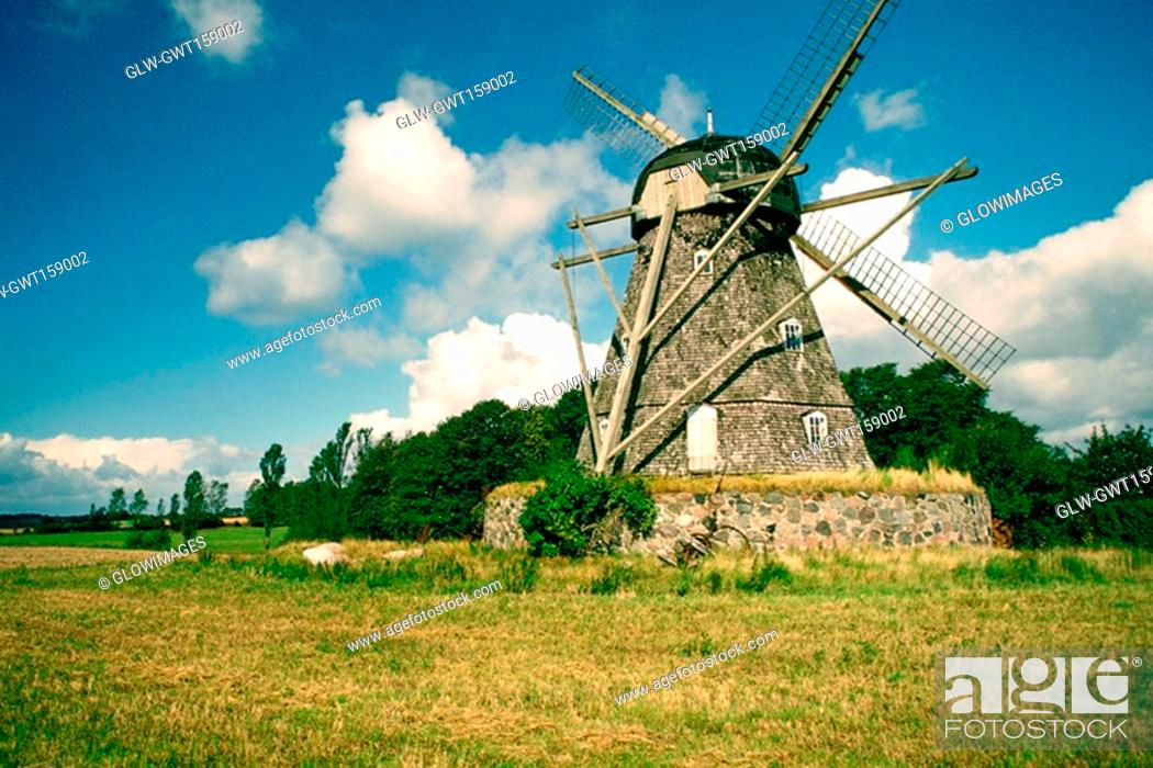 Stock Photo: Low angle view of a windmill, Funen County, Denmark.