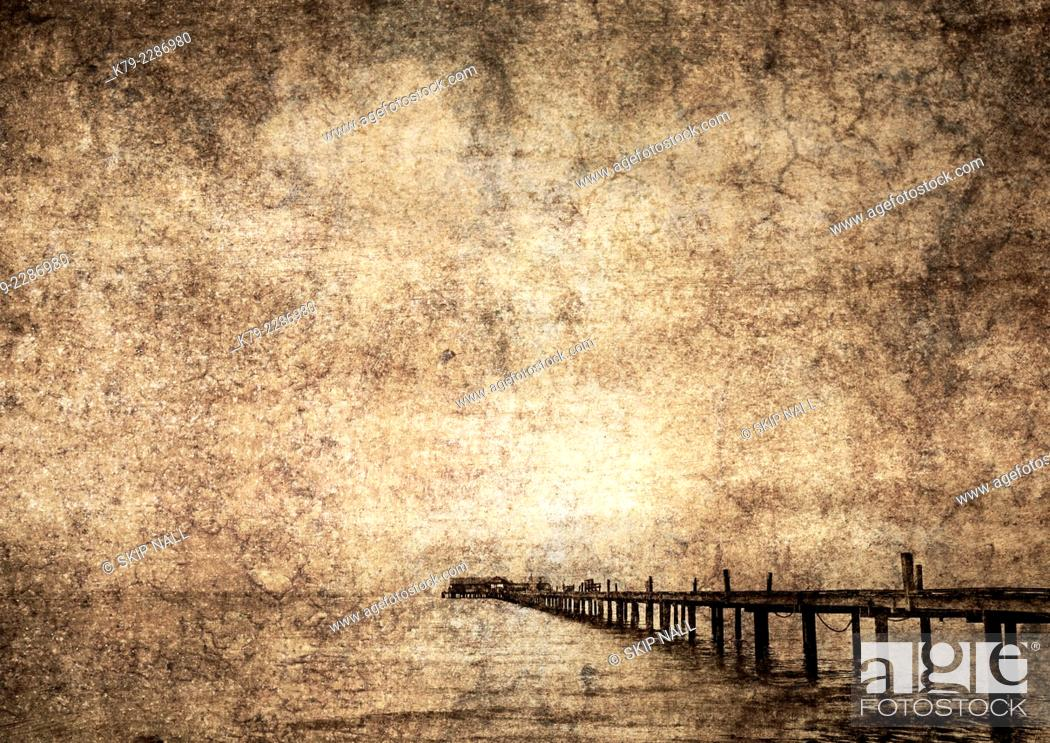 Stock Photo: A fishing pier on the Gulf of Mexico in Florida.a.