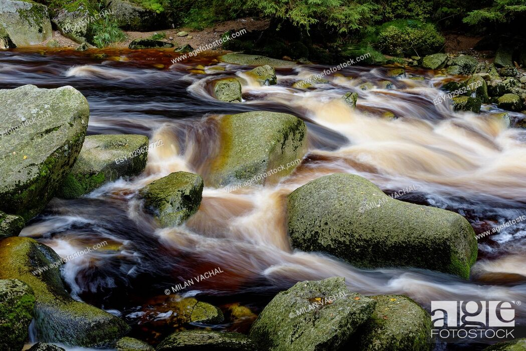 Stock Photo: Czech Republic, Sumav, river Vydra.