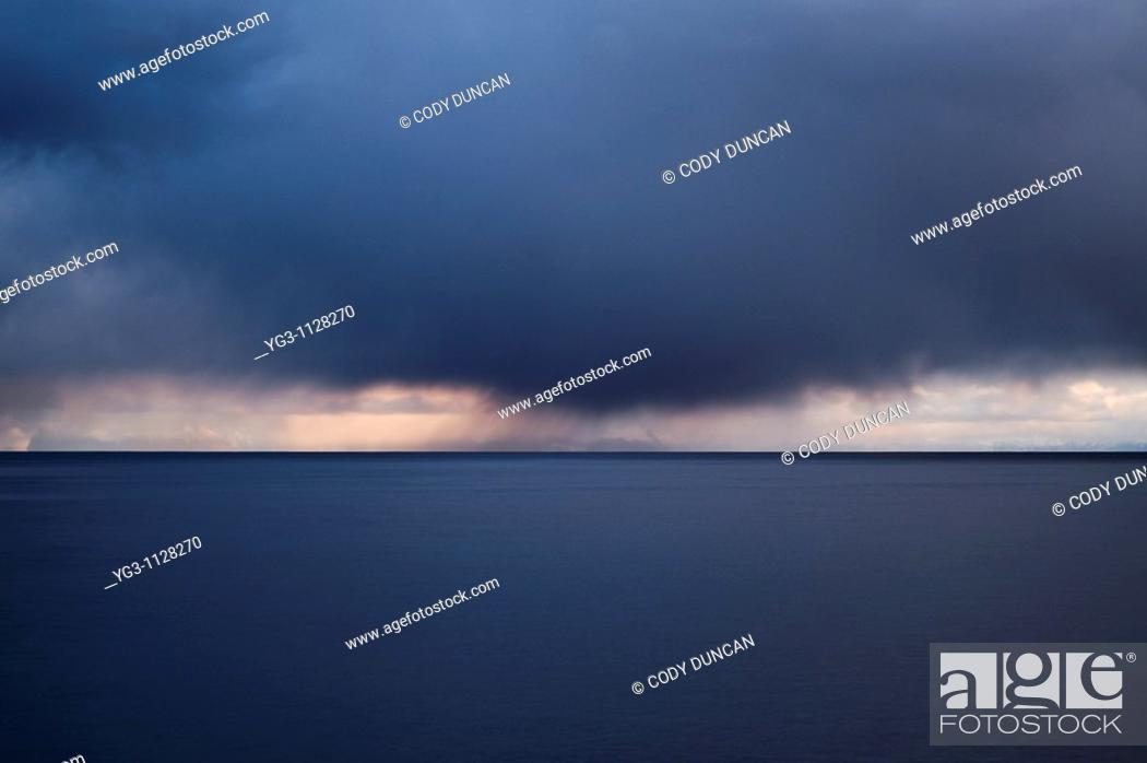 Stock Photo: Autumn storm clouds over Vestfjord, Lofoten islands, Norway.