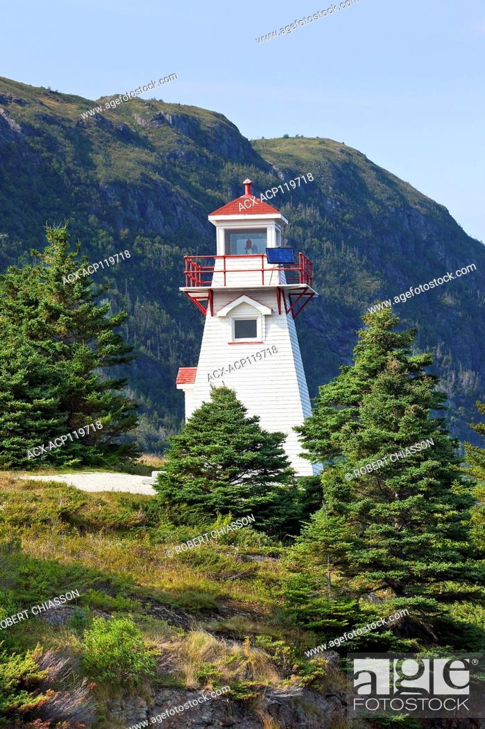 Stock Photo: Woody Point Lighthouse on the south arm of Bonne Bay and on the northern edge of the town of Woody Point, Gros Morne National Park, Newfoundland, Canada.