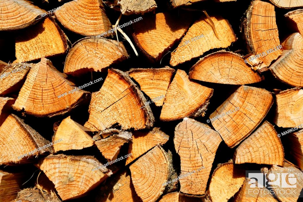 Stock Photo: Stacked firewood.