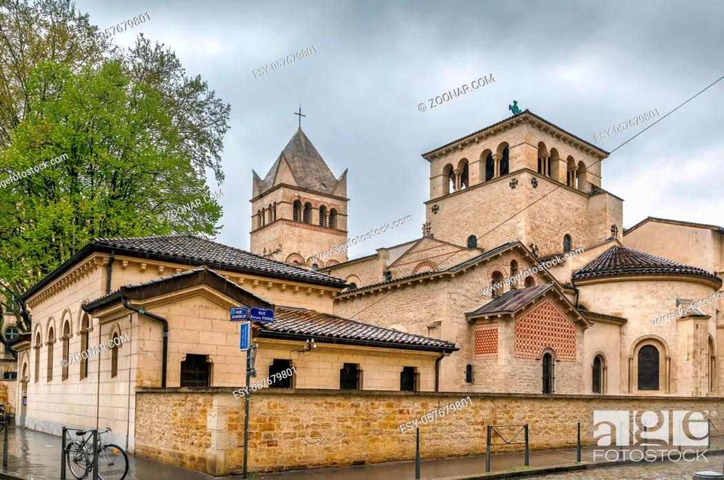 Stock Photo: Basilica of Saint-Martin d'Ainay is a Romanesque church in the historic centre of Lyon, France.