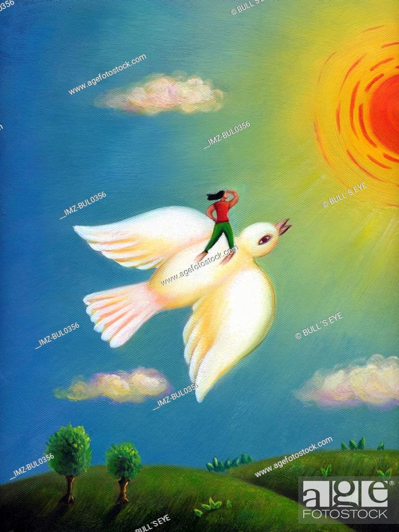 Stock Photo: A woman flying on the back of a dove towards the sun.