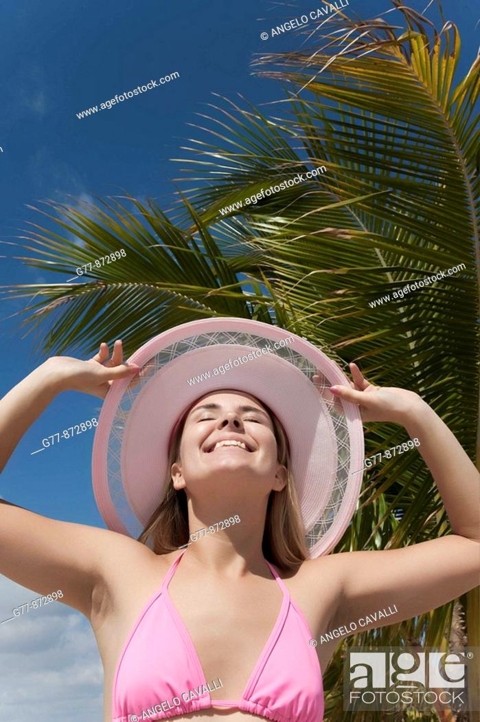 Stock Photo: Woman on the beach, Miami, Florida, USA.