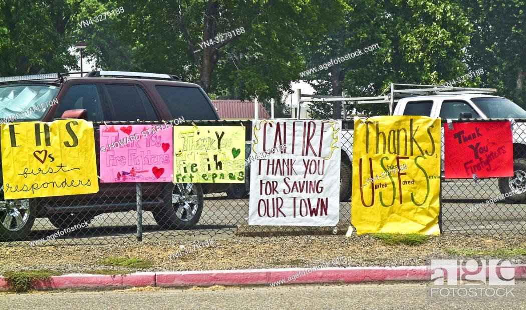 Stock Photo: Signs on the perimeter of the Shasta County Fair Grounds in Anderson, California thanking firefighters and others working to contain the Carr Fire in Northern.