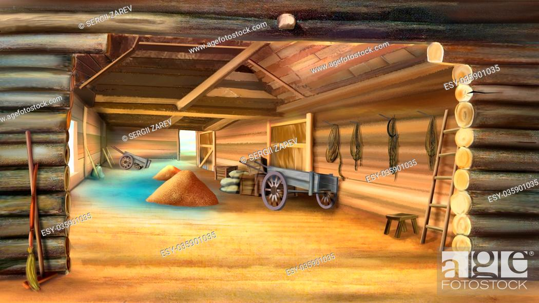 Imagen: Barn with Grain in a village. Wooden cart. Digital painting, illustration in Realistic Cartoon Style.