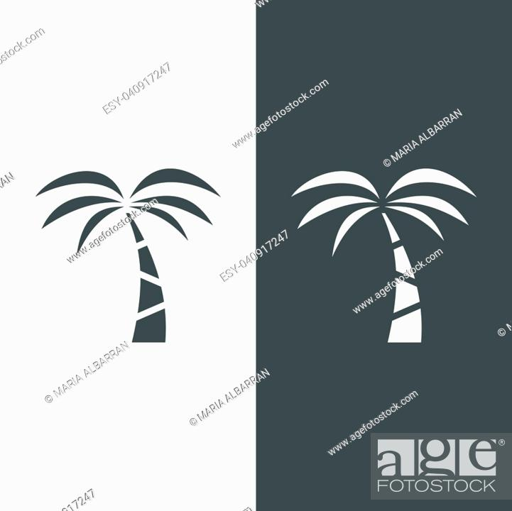 Stock Vector: Palm tree icon on a black and white background. Vector illustration.