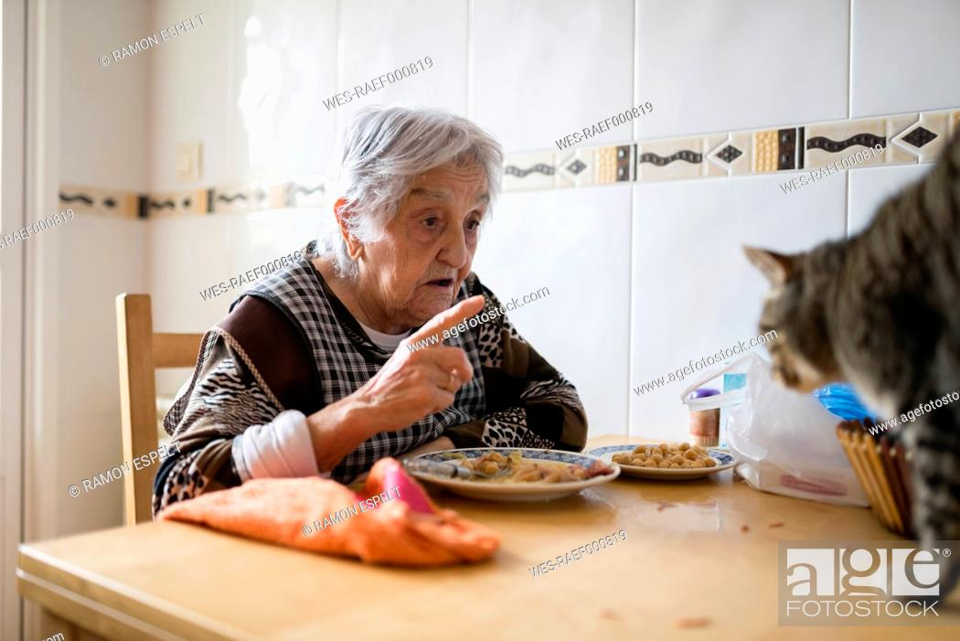 Stock Photo: Senior woman sitting at dining table scolding her cat.