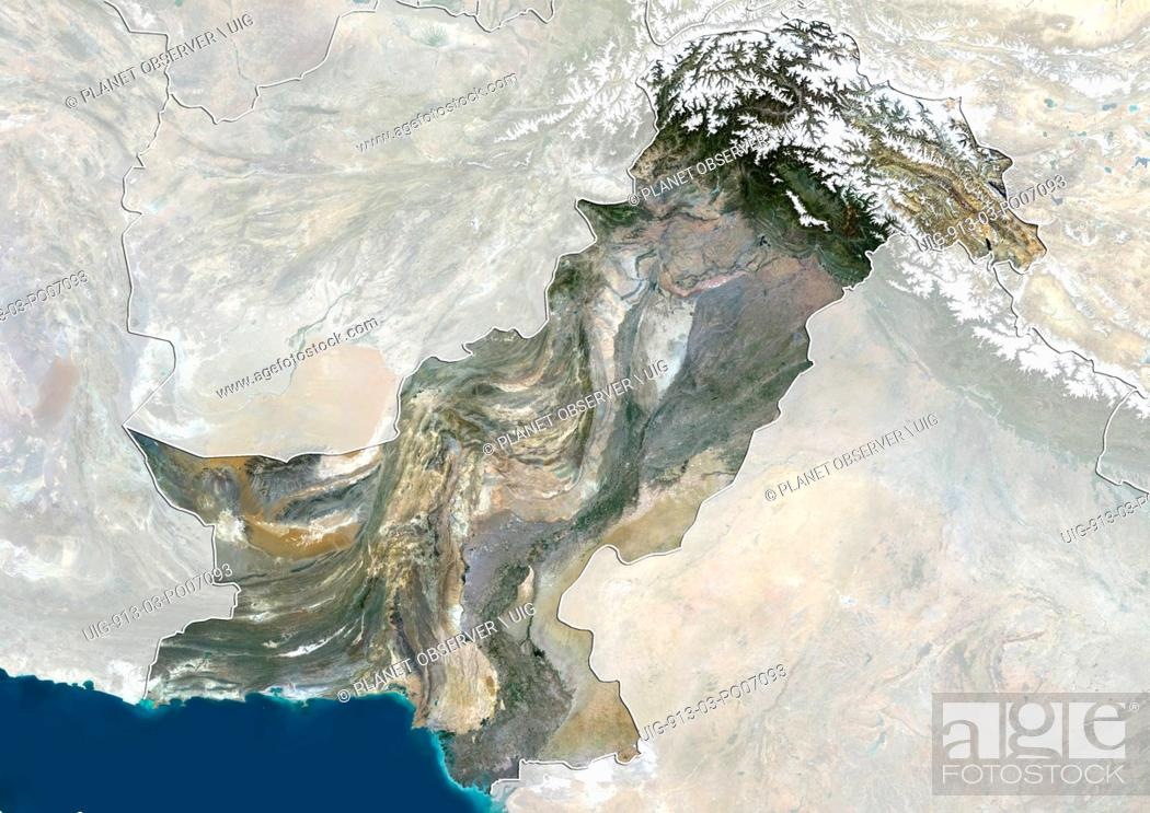 Imagen: Satellite view of Pakistan (with country boundaries and mask) showing disputed boundaries with India. This image was compiled from data acquired by Landsat 8.