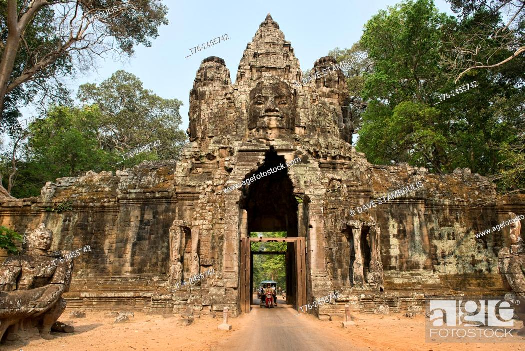 Stock Photo: The East Gate of Angkor Thom at Angkor Wat in Siem Reap, Cambodia.