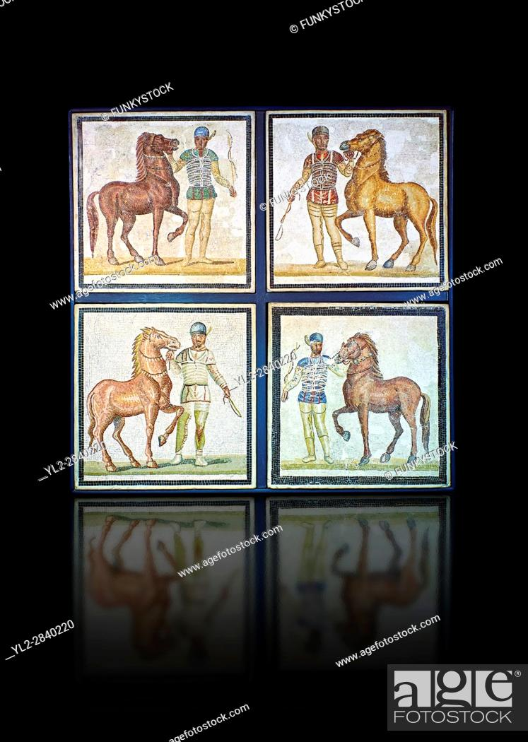 Stock Photo: Roman geometric floor mosaic depicting horsemen and their horses from the Circus from a room of a villa in the locality Baccano near the Via Cassia, Rome.