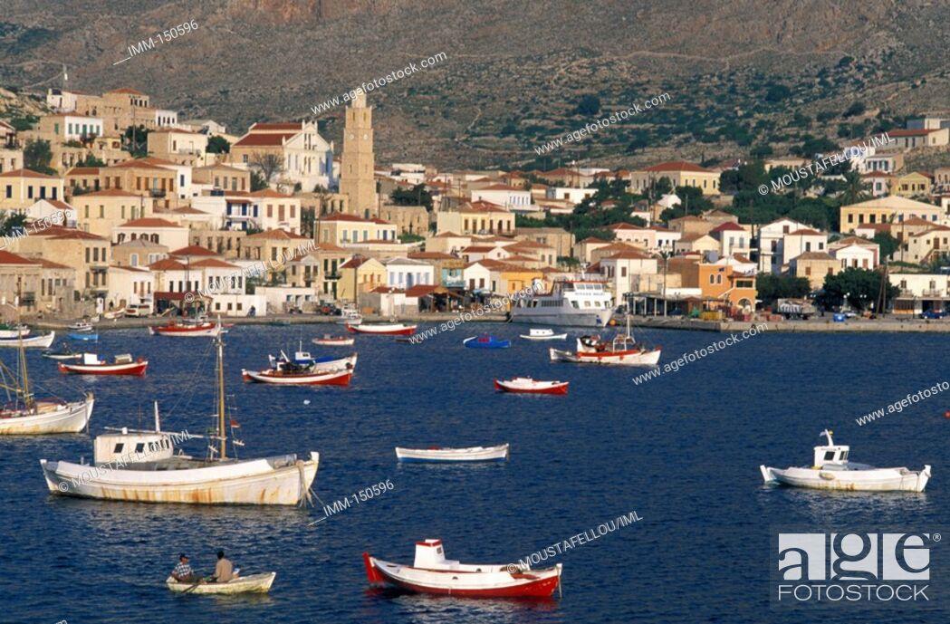 Stock Photo: Halki Island of the Dodecanese Chora, harbor, fishing boats.