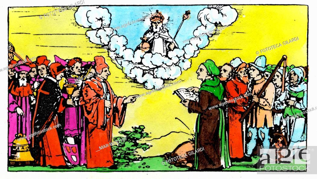 Stock Photo: GUERRA DEI CONTADINI Nella stampa allegorica Lutero difende i contadini e i diseredati schierati di fronte ai potenti, ispirandosi a quanto scritto sulla Sacra.