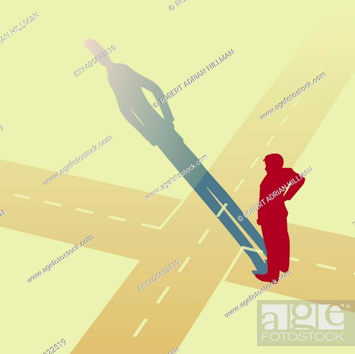 Stock Vector: Vector illustration of a man standing at a crossroads.
