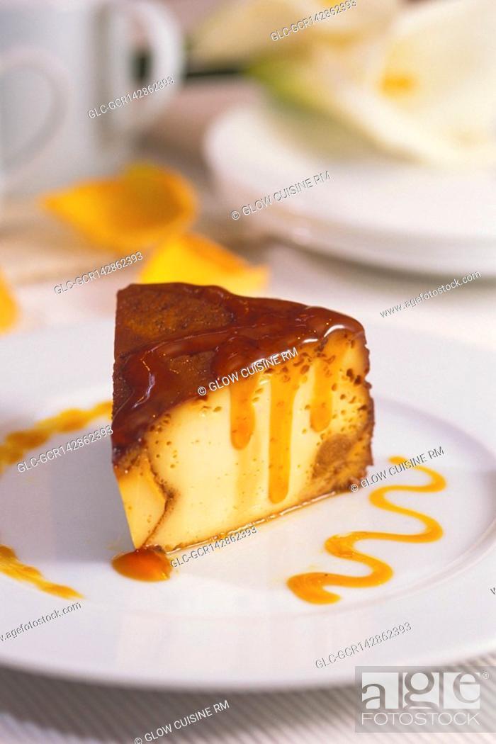 Stock Photo: Close-up of caramel custard on a plate.