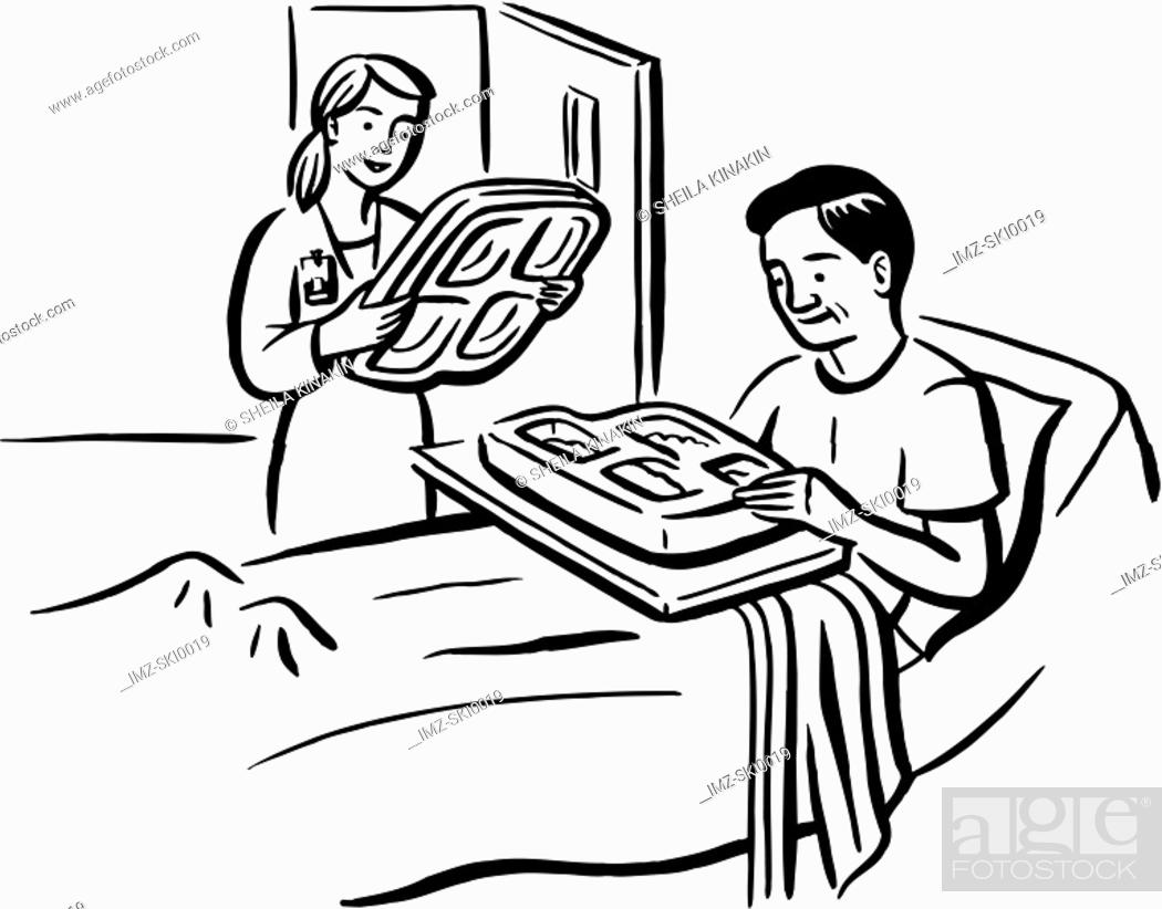 Stock Photo: A man eating the hospital food.