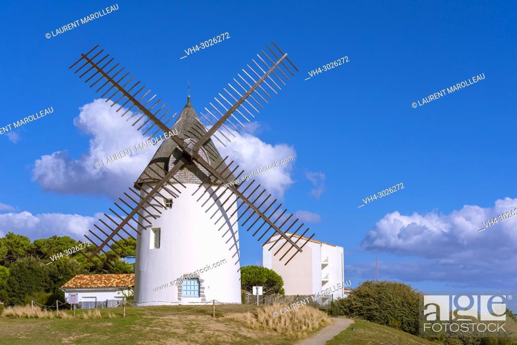 Stock Photo: The Windmill in Jard-sur-Mer, Sables-d'Olonne District, Vendée Department, Pays de la Loire Region, France, Europe.