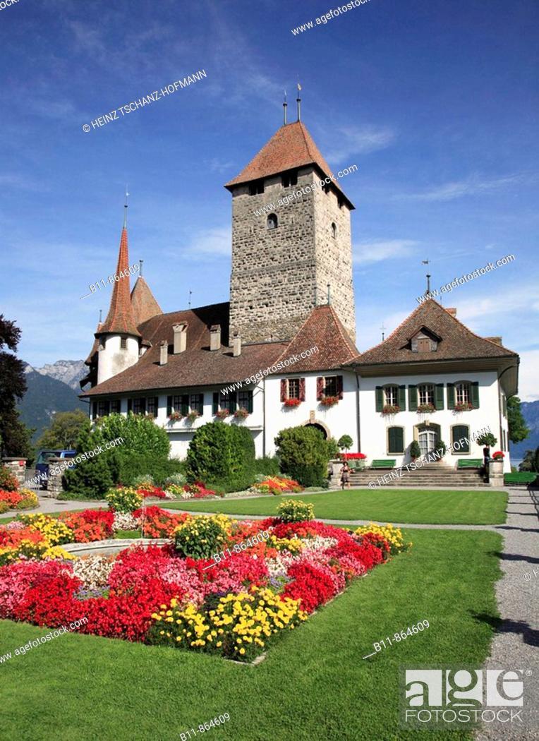 Stock Photo: palais Spiez at Lake Thun, Niedersimmental, canton Bern, Switzerland.