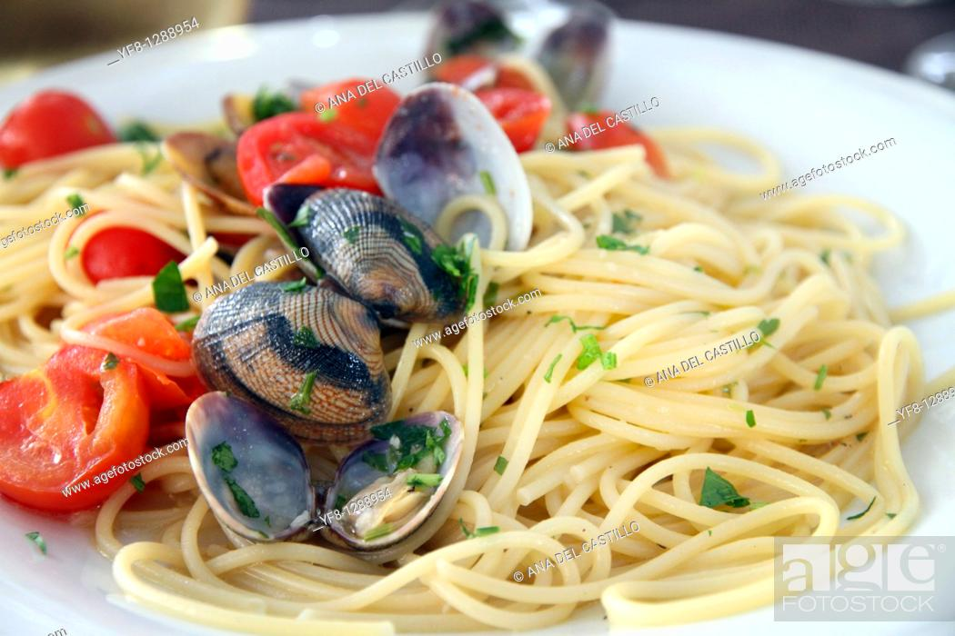 Stock Photo: Spaghetti with frutti di mare. Santa Teresa di Gallura in Sardinia, Italy.