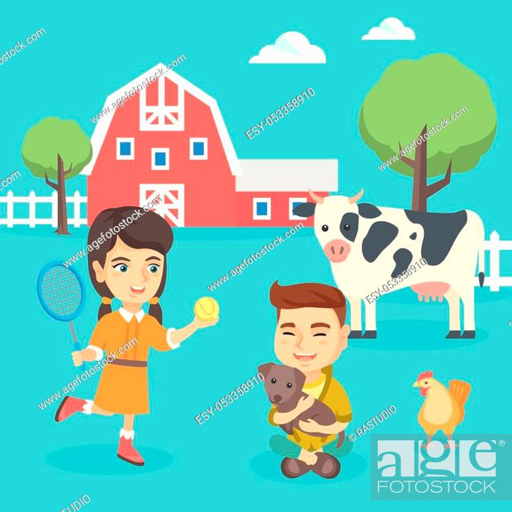Stock Vector: Cheerful caucasian active children playing in the backyard in the farm. Happy boy hugging his dog in the backyard while girl playing badminton.