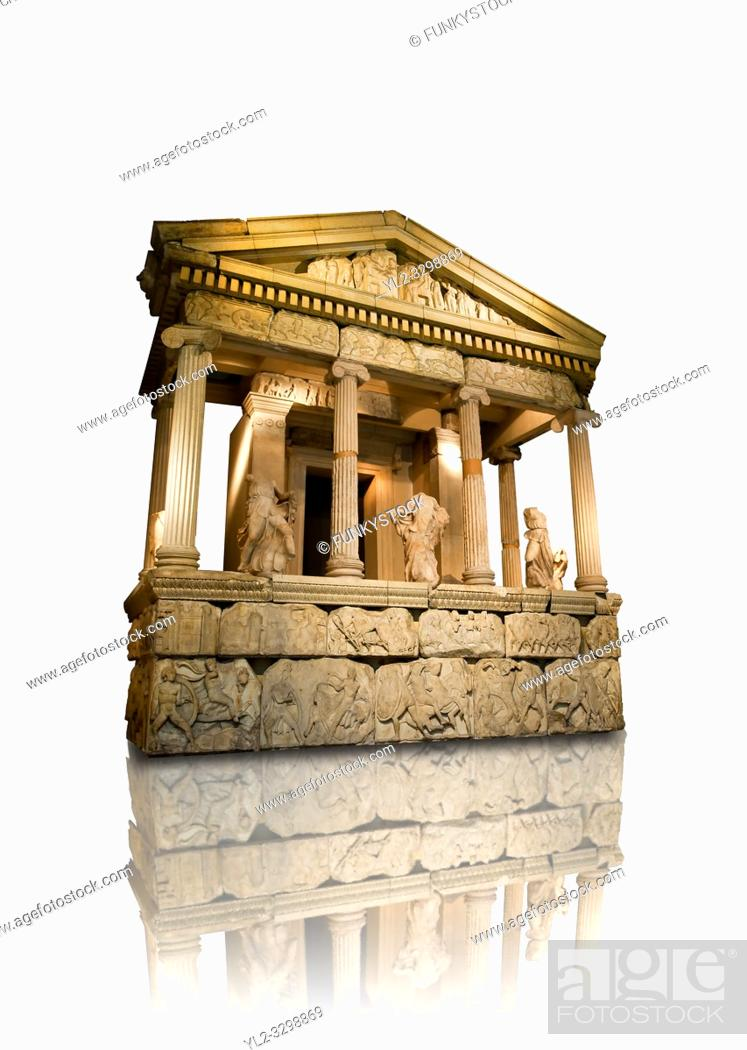 Stock Photo: The sculptured 4th cent. B. C Lycian Nereid ( Mythical Greek Sea Nymphs) Monument tomb of Arbina, a Xanthian client ruler of the Persians conquerors of Lycia.