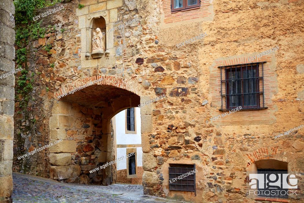 Stock Photo: Arco de Santa Ana arch in Caceres of Spain at Extremadura.