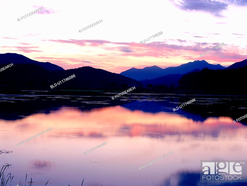 Stock Photo: sunset, nature, lake, landscape, scenery, wetfog, mountain.
