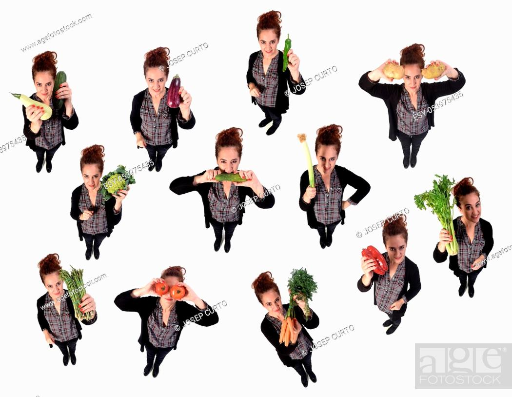 Stock Photo: portrait of a woman with different vegetables in white background.