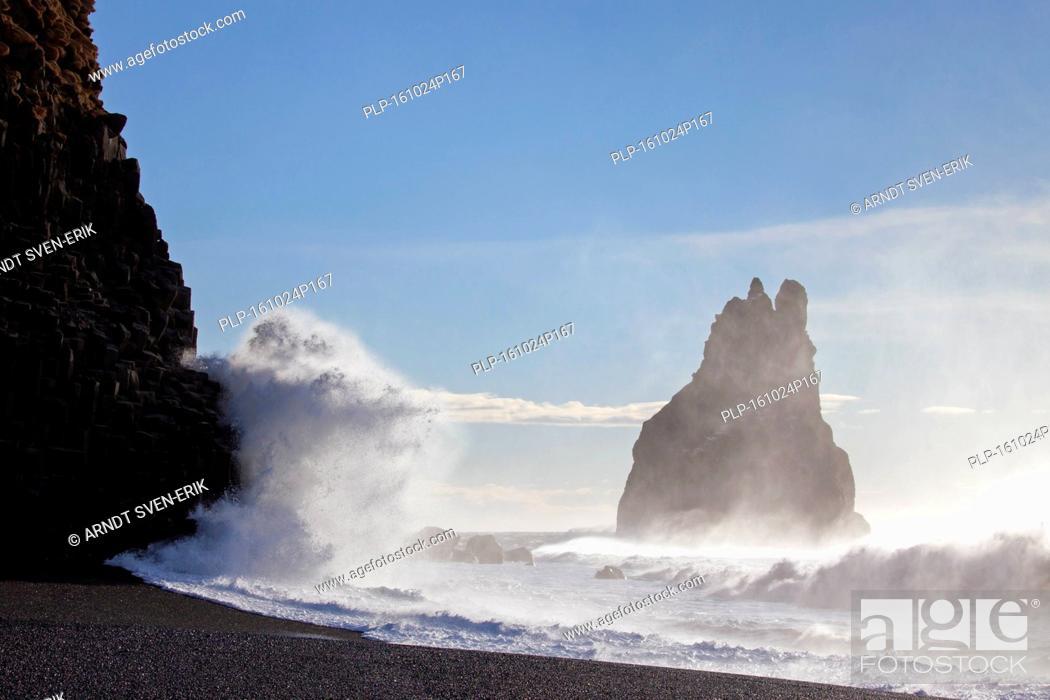 Stock Photo: Reynisdrangar, basalt sea stack near the village Vík í Mýrdal, southern Iceland.