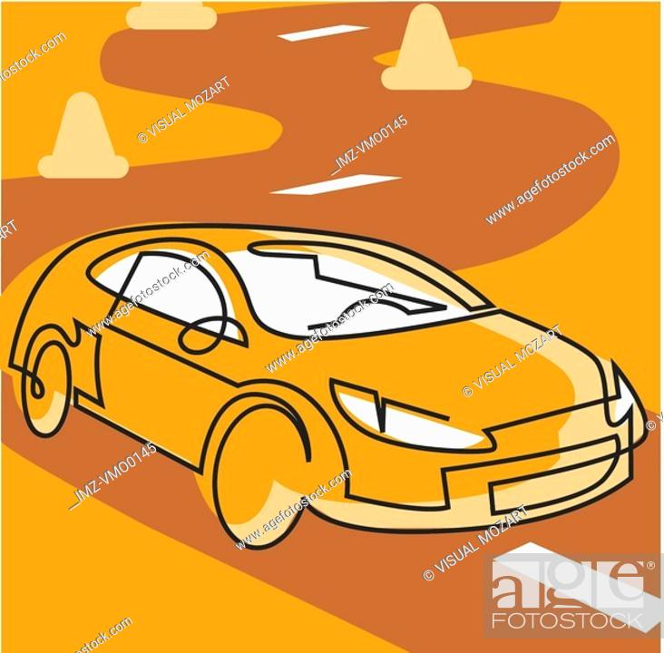 Stock Photo: Sports car driving on a course.