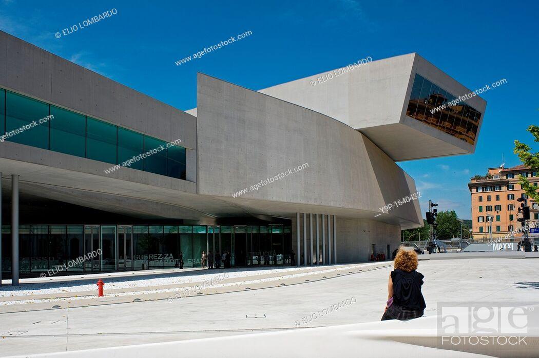 Stock Photo: MAXXI National Museum of 21st Century Arts, Rome, Italy.