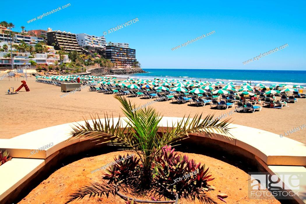 Stock Photo: Puerto Rico beach in Gran Canaria island.