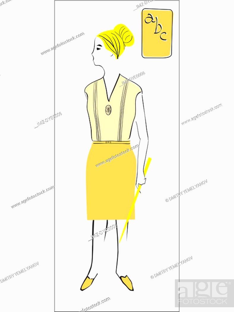 Stock Photo: A retro illustration of a female elementary school teacher.
