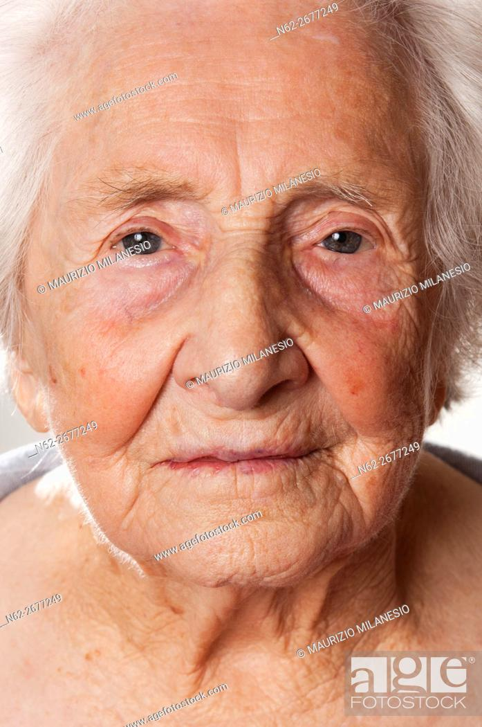Stock Photo: frontal view of the face of an elderly woman.