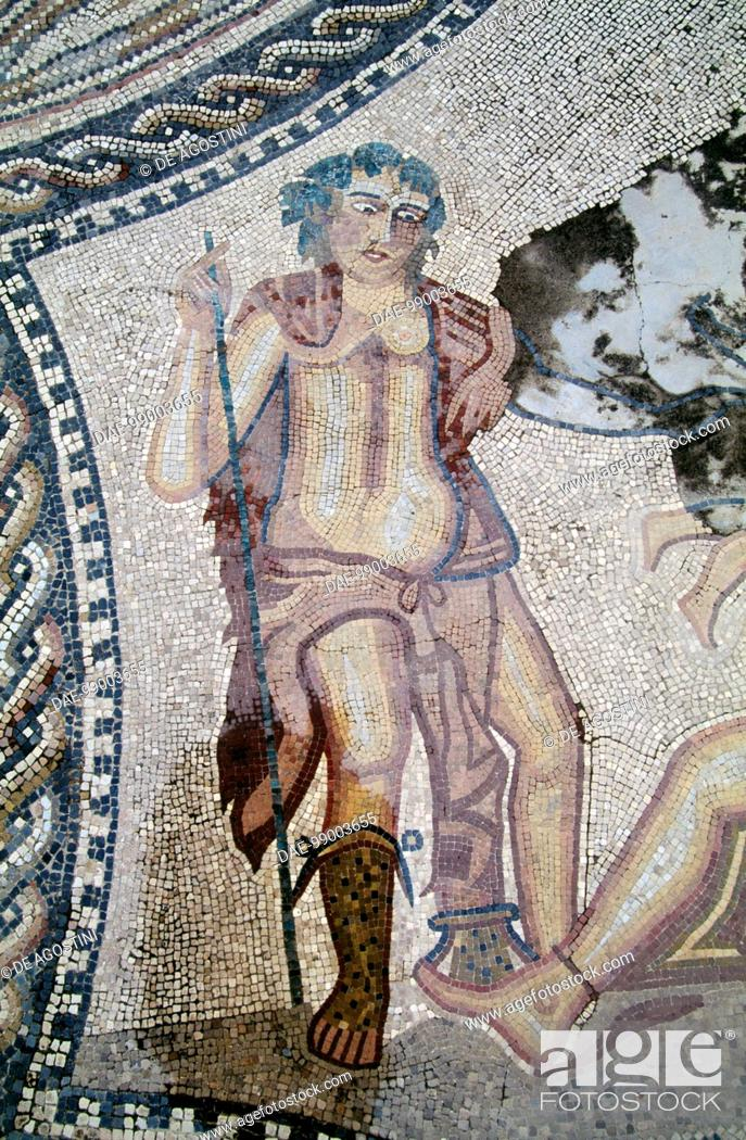 Stock Photo: Dionysus, from the Dionysus discovering Ariadne asleep mosaic, Knight's house, Roman city of Volubilis (UNESCO World Heritage List, 1997), Morocco.