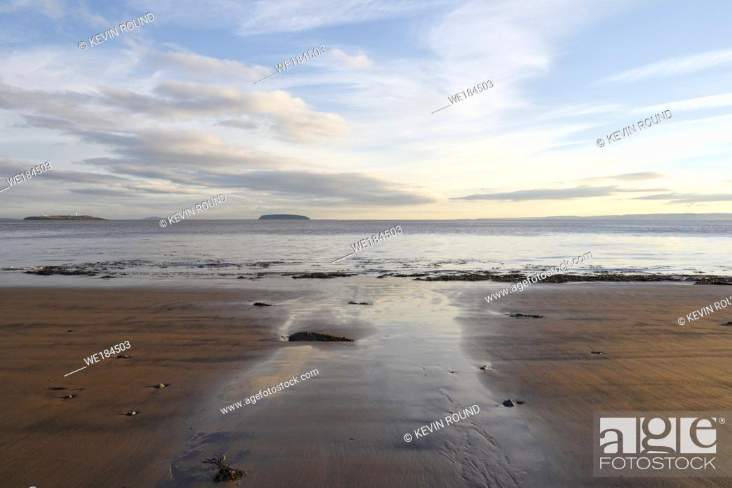 Stock Photo: Winter afternoon at Lavernock Point beach in Wales UK.
