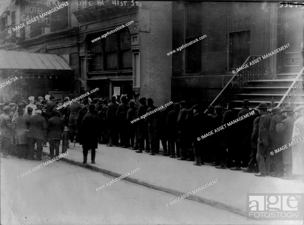Stock Photo: Men in bread line on 41st St., New York City]. Date Created/Published: 1915 Feb.