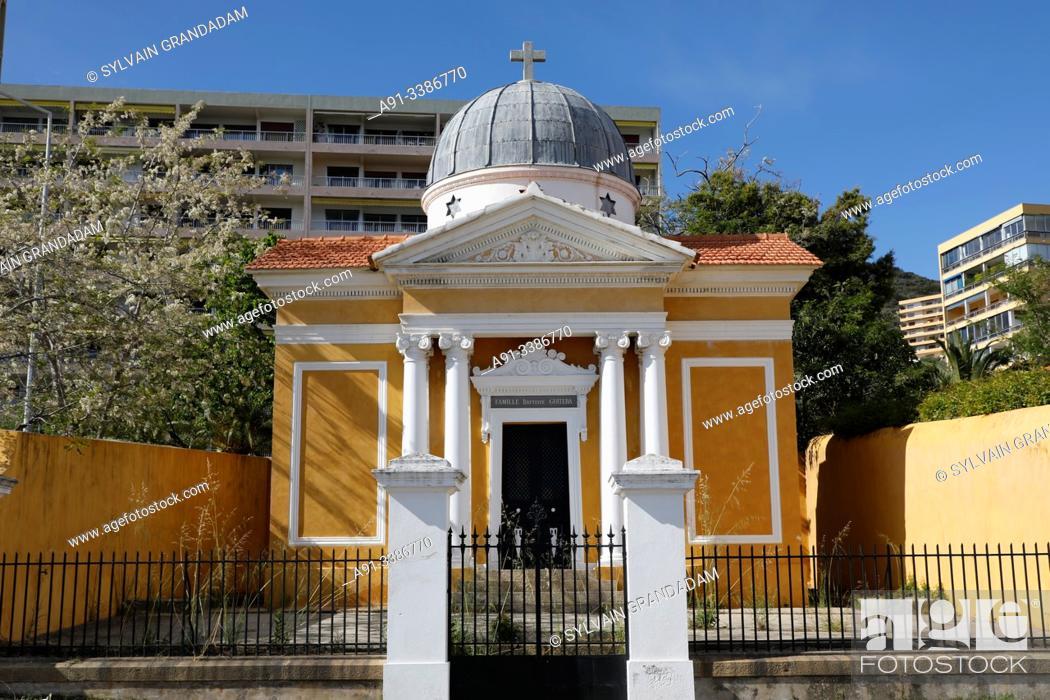 Stock Photo: France, Corsica, city of Ajaccio, the marine cemetery.