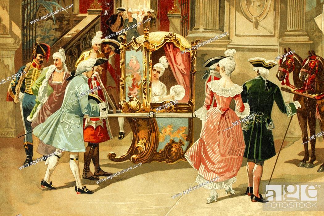 Stock Photo: Paris, France. Princess Elisabeth of France leaving the opera. Sister of Louis XVI. 1764-1794. Antique illustration. Book of history. 1897.