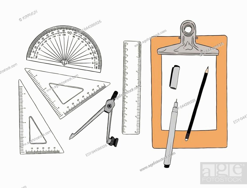 Stock Vector: set of stationary , hand draw element sketch vector. work plac eor school equipment.