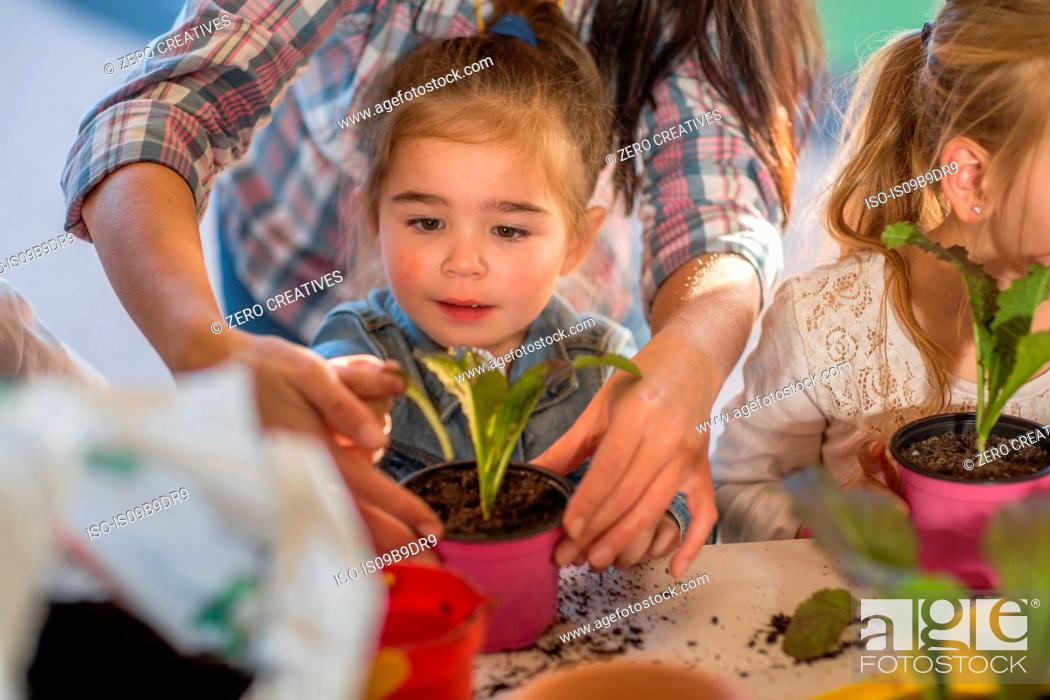 Stock Photo: Mid adult woman helping young children with gardening activity.