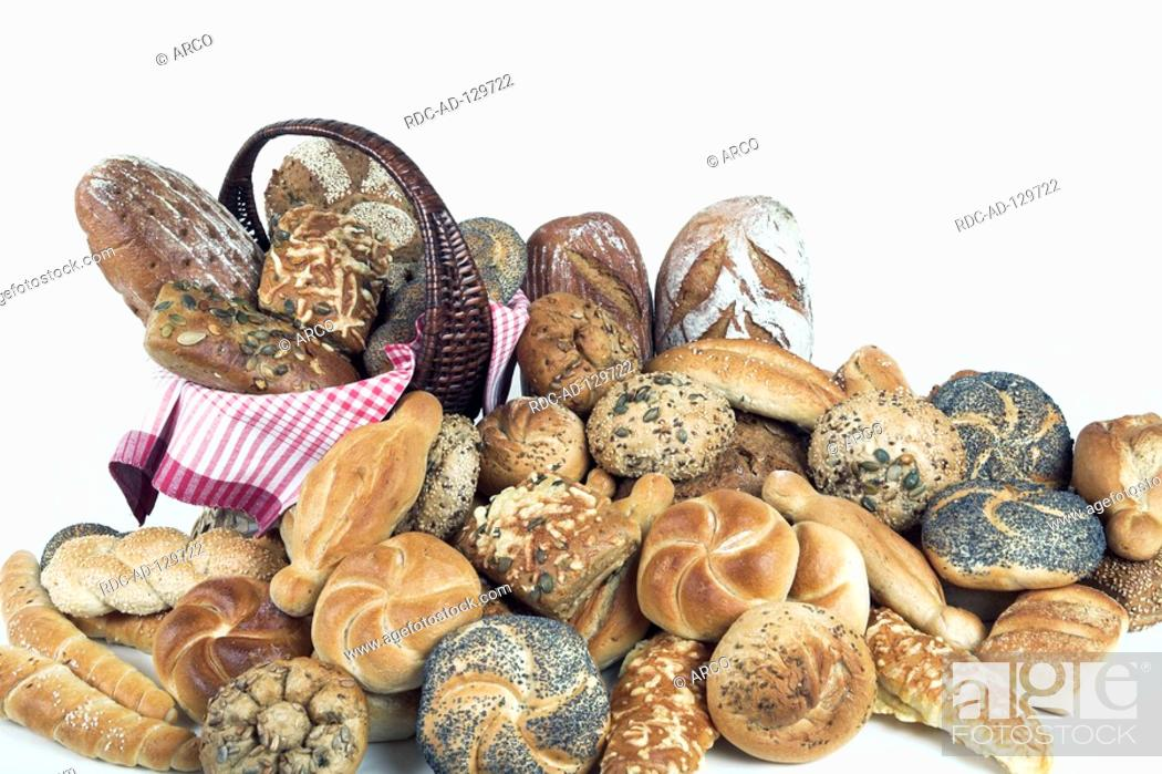 Stock Photo: Different kinds of rolls and bread in basket.