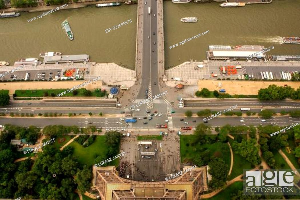 Stock Photo: Aerial view of Paris architecture from the Eiffel tower.