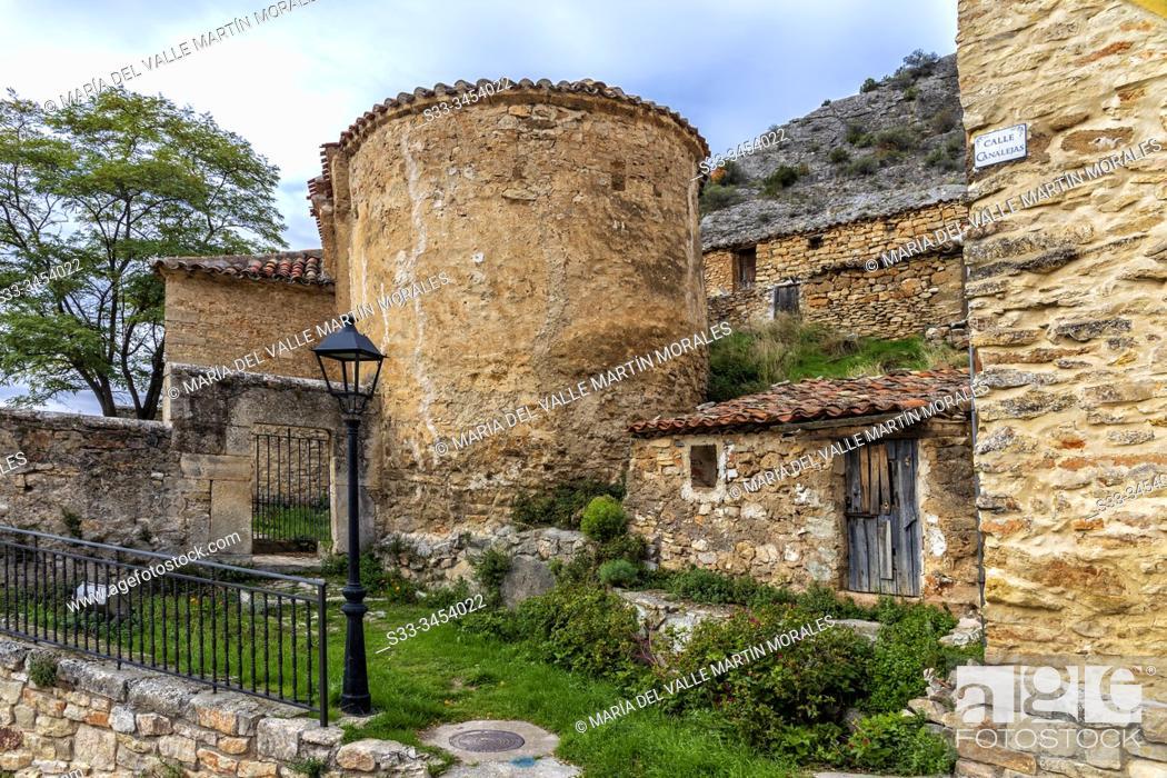 Stock Photo: Rural houses in Aragosa. Guadalajara. Spain. Europe.
