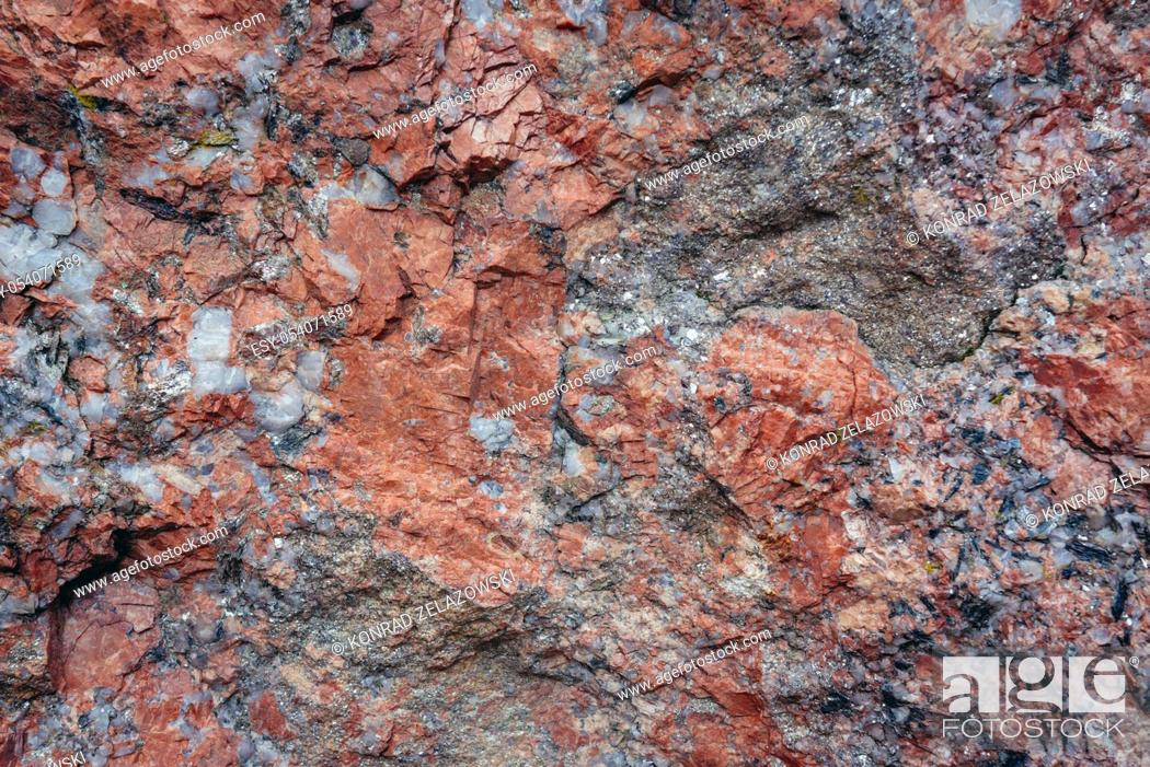 Stock Photo: Close up on a Pegmatite rock with interlocking crystals in Poland.