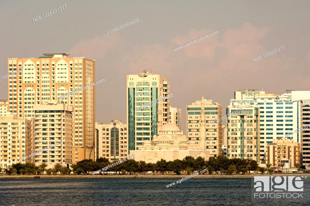 Stock Photo: View across the Khaleed Lagoon to the high-rising buildings along the Cornic.