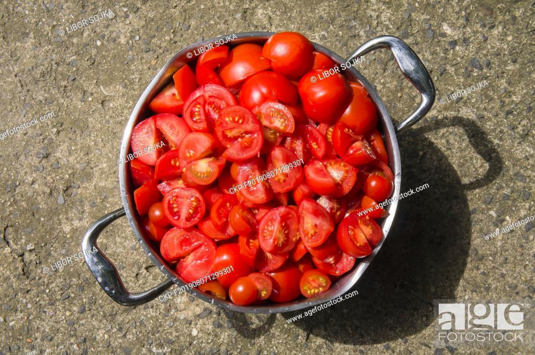 Stock Photo: steel cooking pot full of red tomato, cut tomatoes, agriculture, vegetable, no people, freshness, botany, organic, healthy eating, food and drink, August 6.